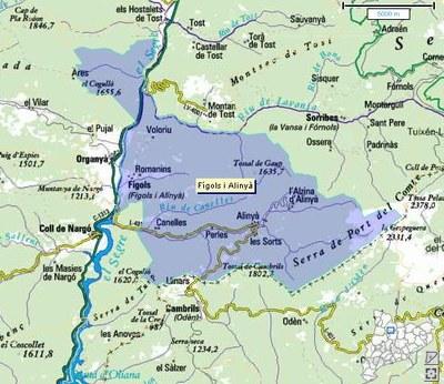 Mapa de Fígols i Alinyà